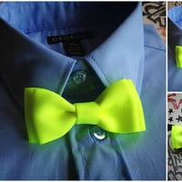Neon Yellow bowtie for boys, infant bowties, toddler bowtie, Birthday Photo Prop or Photography Session, family photos Christmas Shower Gift