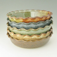Pottery Quiche Dish MADE TO ORDER Sold Singly, Fluted 9 inch Pot Pie Baker, Large Stoneware Baking Dish Your Color Choice