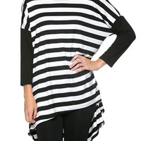 Striped Paneled High-Low Dress