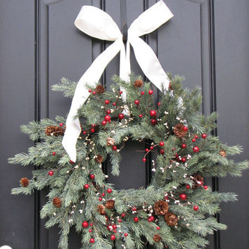 Holiday Wreath - Christmas, Pine, Berries and Pinecones Wreath for your Front Door Decor