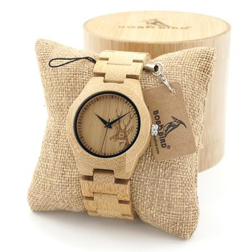 BOBO BIRD Women Bamboo Wooden Watches Deer Men lwith Wood Strap Quartz ladies watchTri-Fold Clasp watch gifts