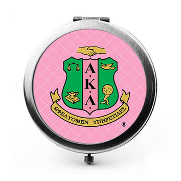 AKA - Alpha Kappa Alpha Sorority Shield Duel Compact Mirror - Round SPECIAL PRICE!!! - New Style