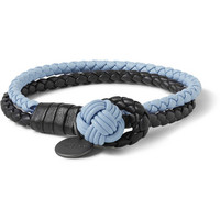 Bottega Veneta - Two-Tone Intrecciato Leather Wrap Bracelet | MR PORTER