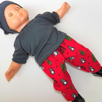 """Bitty Baby Girl Clothes 15"""" Doll Clothes Red Burgundy Penguin Print Christmas Tree Pants, Grey peasant blouse, and hat (cap) 3 pc outfit"""