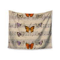 "Suzanne Carter ""Butterfly Opera"" Music Tan Wall Tapestry"