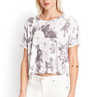 FOREVER 21 Boxy Floral Knit Tee White/Grey