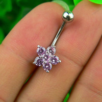 Small flower belly button jewelry bellybutton ring blingbling belly button ring