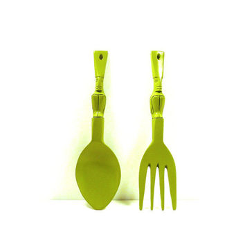 wood spoon and fork  //  tiki, avocado green, olive, home decor, 1960s, retro wall art, surfer, hawaiian, utensil set