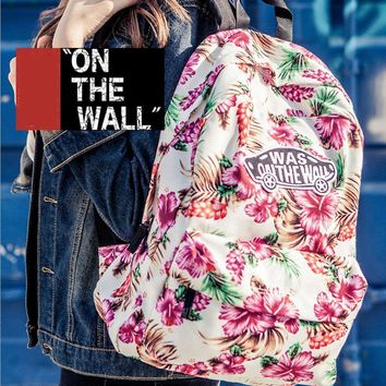 VansFashion Personality printing large capacity backpack bag leisure travel boom White print flower 7 style