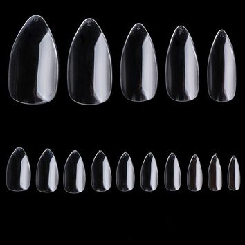 500pcs/ Pack Natural Color Oval Pointy Full False Nail Tips Almond Shape Acrylic Gel Claw @ME88