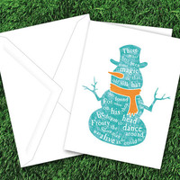 Snowman Card | Frosty the Snowman | Teal and Orange | Holiday Card