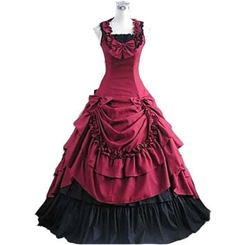 Halloween costumes for women adult southern belle costume red Victorian dress Ball Gown Gothic lolita dress plus size custom