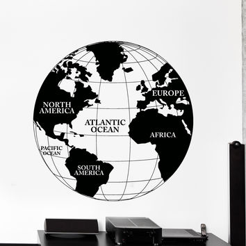 Vinyl Wall Decal World Map Atlas Continents Africa Europe Noth America Decor Unique Gift z4480