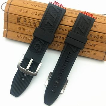 Top Brand Quality neature Rubber Watch Strap band 22mm 24mm Black Watchband Bracelet For navitimer/avenger/Breitling logo on