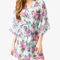 Cabbage Rose Print Sleep Robe