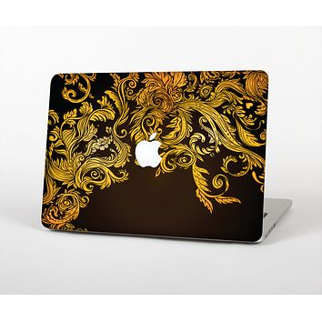 The Gold Floral Vector Pattern on Black Skin Set for the Apple MacBook Pro 13""