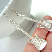 Rocking Guitar Earrings Charms with Silver Plated Hooks or Clip Ons