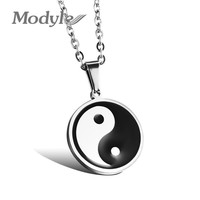 Modyle New Fashion Jewelry Men Stainless Steel Necklace Chinese Style Taiji Bagua Pendant Male Fine Accessories