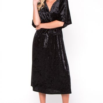 Black Velvet Midi Wrap Dress