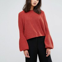 Weekday Crop Knit Sweater with Balloon Sleeve at asos.com