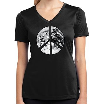 Buy Cool Shirts Ladies Peace T-shirt Earth Satellite Symbol Dry Wicking V-Neck