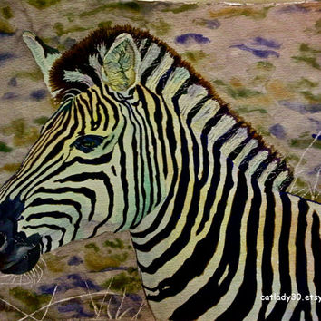 Water Color : African Zebra watercolor print. Watercolor art. Zebra painting. Safari decor. Zebra wall art. Zebra picture. Watercolor animal