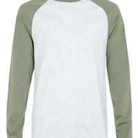 Grey and Khaki Classic Fit Raglan T-Shirt
