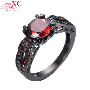 Antique Red Crystal Stone Ring Ruby Jewelry Black Gold Filled Cubic Zircon Women Men Finger Rings High Quality Bijoux RB0117