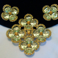 HATTIE CARNEGIE Jewelry Brooch Pin Earrings Set Rhinestone Glass Gold Plate