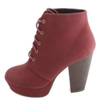Chunky Heel Lace-Up Platform Booties by Charlotte Russe - Oxblood