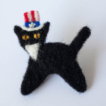 Uncle Sam Black Cat Pin, Needle Felted Cat Brooch, Patriotic Pin