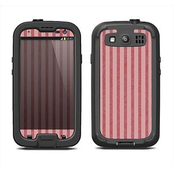The Pink Vintage Stripe Pattern v7 Samsung Galaxy S3 LifeProof Fre Case Skin Set