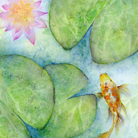 Watercolor abstract art, koi fish pond print, zen art, koi fish watercolor abstract painting, soothing art, lily pad lotus, small/medium