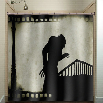 vintage film noir movie strip nosferatu shower curtain bathroom decor fabric kids bath white black custom duvet cover rug mat window