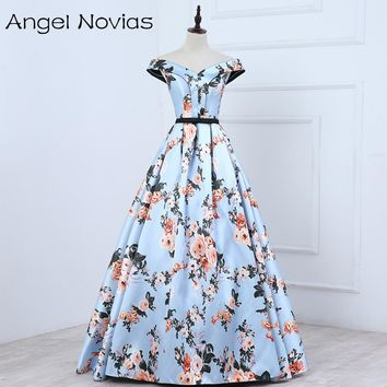 Angel Novias Long Floral Print Satin Celebrity Dresses 2017 Corset Back Sleeveless V Neck Formal Gown