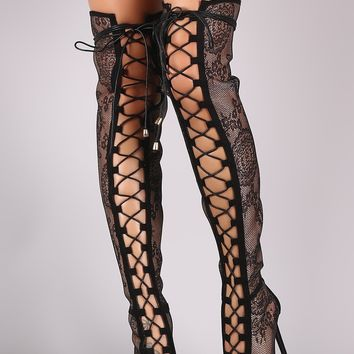 Floral Embroidered Mesh Over-the-knee Boots For Women By Liliana | Women Couture Young Aloud Floral Lace Design Back Zipper Peep Toe Front Lace Over The Knee Platform High Heel Boots