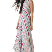 Pink stripe maxi dress made from gauze fabric