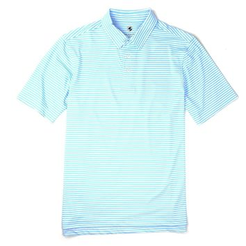 Classic Performance Polo in Sky Blue and White Stripe by Southern Proper