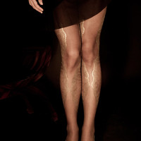 SALE - Hand Printed EXCLUSSIVE Tights -La Boheme, Gold on sheer dark brown, Flash Back collection
