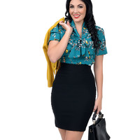 Retro Style Teal Button Up Birdy Blouse