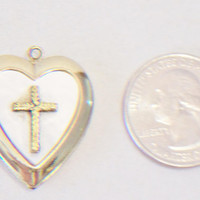Vintage Cross Heart Locket Vintage Mother of Pearl Jewelry Fashion Accessories For Her Valentines Day Gifts