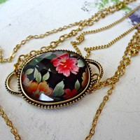 Black Floral Necklace from Fourth Tower Jewelry