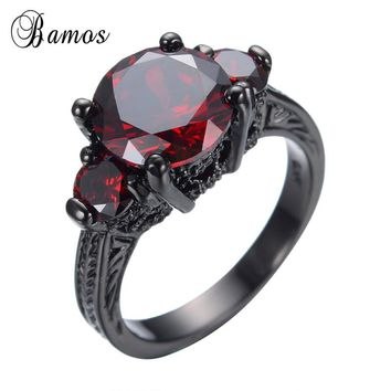 Bamos Male Retro Red Stone Ring Wedding CZ Ring Black Gold Filled Punk Ring For Women Men Fashion Engagement Jewelry Best Gift