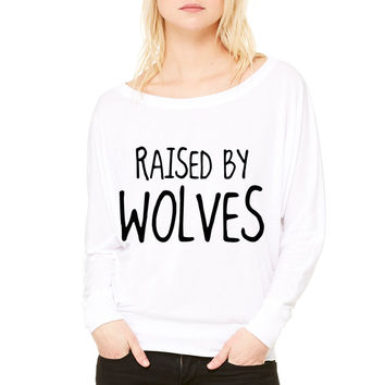Raised By Wolves WOMEN'S FLOWY LONG SLEEVE OFF SHOULDER TEE