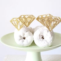 Donut Toppers - Diamond Cupcake Toppers - Bridal Shower Decorations - Cupcake Toppers - Engagement Ring Topper - Bride To Be Party