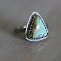 HOLIDAY SALE No. 8 Turquoise Ring with Rusty Brown Matrix // Sterling Silver // Size 8.5