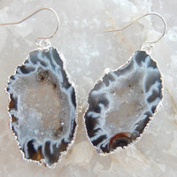 Geode Slice Earrings Silver Dangle Stone Agate Crystal Quartz Druzy Jewelry Freeform Boho Festival Black White - Free Shipping