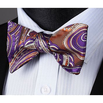 Brown Purple Paisley Silk Self Bow Tie Pocket Square