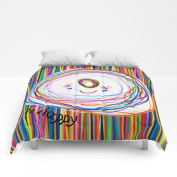 Be Happy   Smile   Stay Child   Kids Painting Comforters by Azima