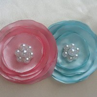 big satin flowers wedding hair accessories hair accessory | amouna - Accessories on ArtFire